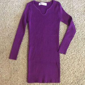 Long Sleeve Purple Sweater Dress